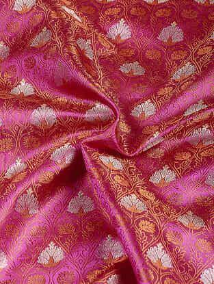 Pink-Orange Benarasi Katan Silk Fabric
