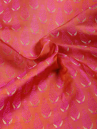 Red-Pink Benarasi Katan Silk Fabric