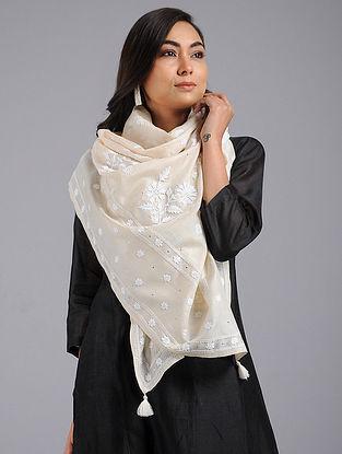 Off-White Chikankari Tussar Silk Stole with Mukaish Work