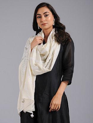 Off-White Chikankari Tussar Silk Stole with Sequins Work