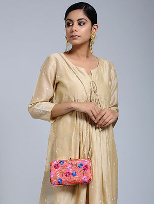 Red-Multicolored Hand-Embroidered Raw Silk Clutch