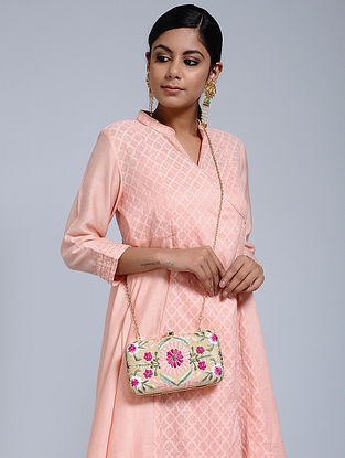 Beige-Multicolored Hand-Embroidered Raw Silk Clutch
