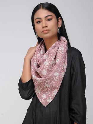 Pink-Ivory Block-printed Cotton Scarf