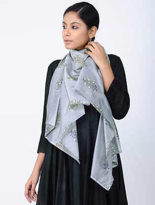 Grey Printed Chanderi Stole