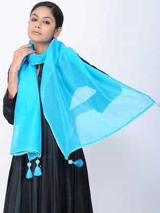 Blue Chanderi Stole with Tassels