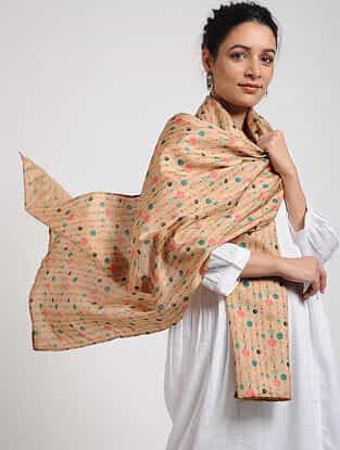 Beige-Pink Digital-printed Khadi Silk Stole