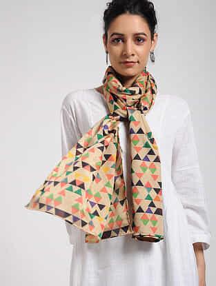 Beige-Green Digital-printed Khadi Silk Stole