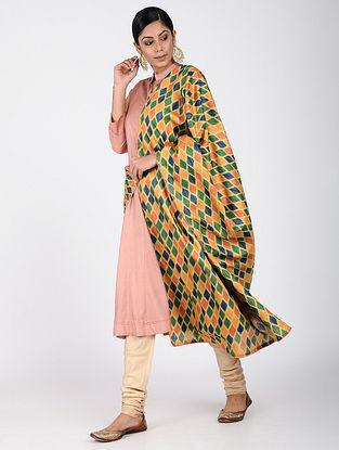 Orange-Green Printed Khadi Silk Dupatta