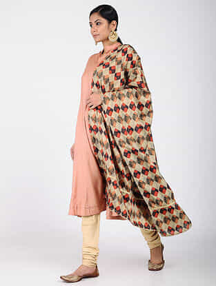Beige-Red Printed Khadi Silk Dupatta