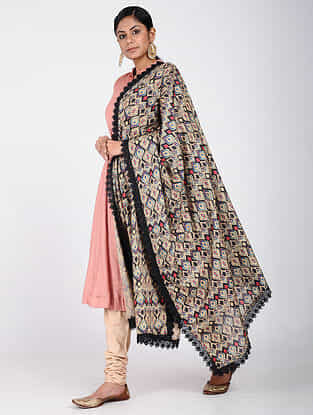 Beige-Black Printed Khadi Silk Dupatta