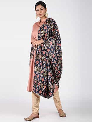 Blue-Red Printed Khadi Silk Dupatta
