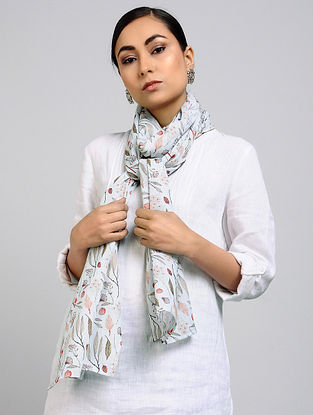 Blue Printed Linen Cotton Stole