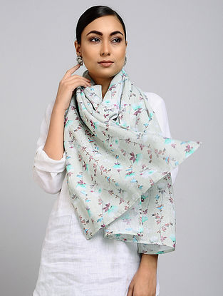 Grey Printed Linen Cotton Stole