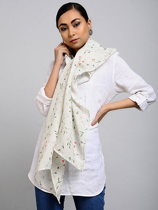 Ivory Printed Linen Cotton Stole
