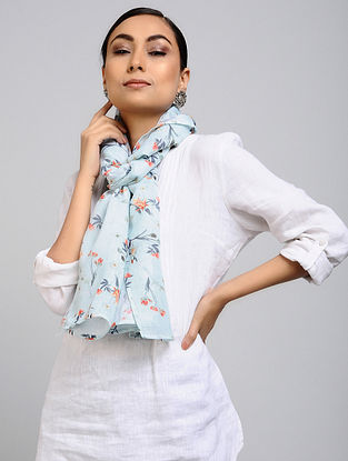 Blue-Red Printed Linen Cotton Stole