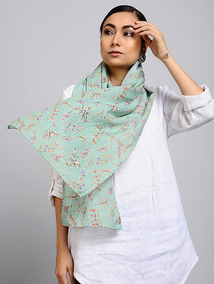 Green-Orange Printed Linen Cotton Stole
