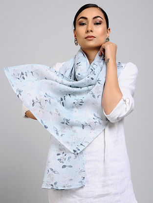 Blue Printed Linen Cotton Stole