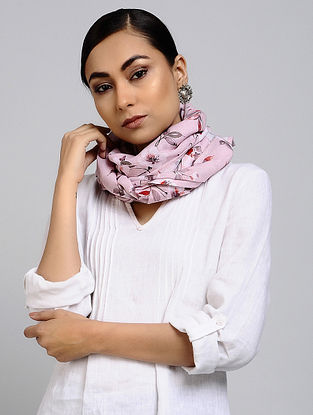 Pink-Red Printed Linen Cotton Stole