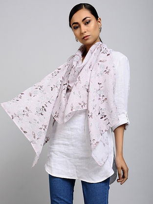 Pink Printed Linen Cotton Stole