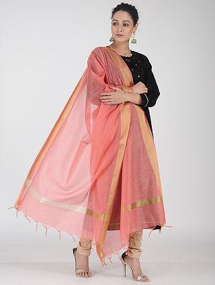 Pink Chanderi Dupatta with Zari Border