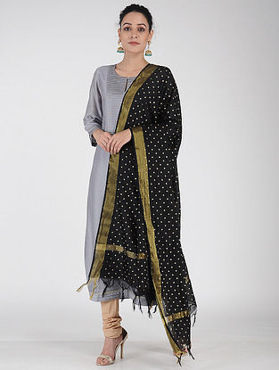 Black Foil-printed Chanderi Dupatta with Zari