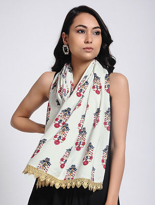 Ivory-Pink Printed Modal Cotton Scarf
