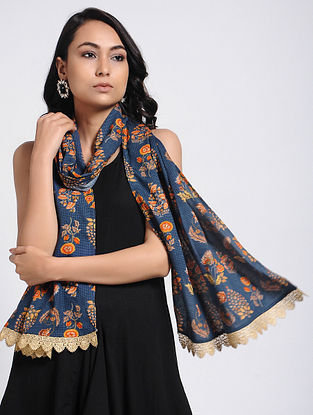 Blue-Red Printed Modal Cotton Stole