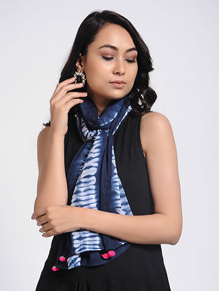 Blue-Ivory Shibori-dyed Mul Cotton Stole