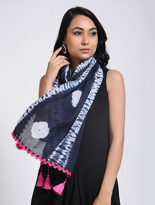 Blue-Ivory Shibori-dyed Mul Cotton Stole with Tassels