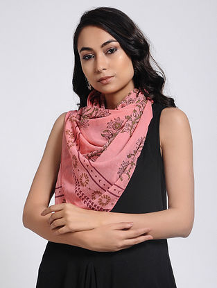 Pink Block-Printed Mul Cotton Stole