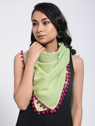 Green-Pink Khadi Cotton Stole with Pompom