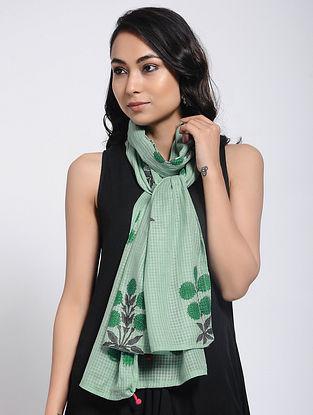 Green Block-printed Kota Doria Stole