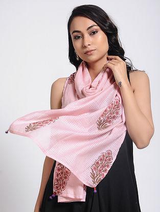 Pink Block-printed Kota Doria Stole
