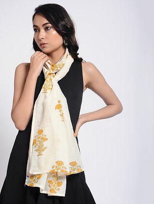 Ivory-Yellow White Block-printed Kota Doria Stole