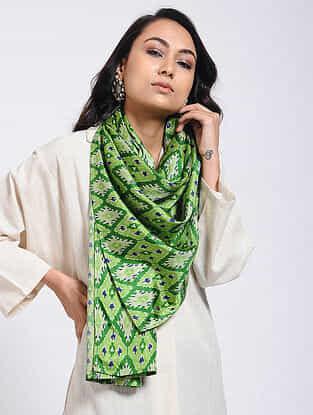 Green Printed Khadi Silk Stole