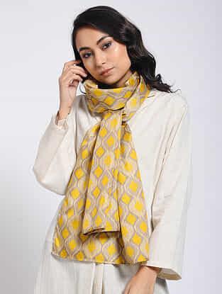 Beige-Yellow Printed Khadi Silk Stole