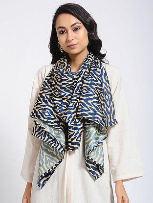 Blue-Ivory Printed Khadi Silk Stole