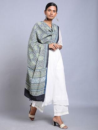 Green-Blue Ajrakh-printed Cotton Dupatta with Tassels