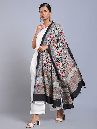 Red-Blue Ajrakh-printed Cotton Dupatta with Tassels