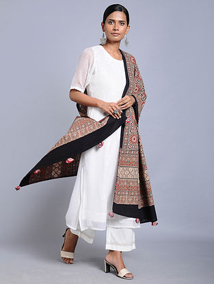 Red-Ivory Ajrakh-printed Cotton Dupatta with Tassels