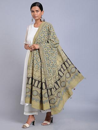 Beige-Blue Ajrakh-printed Cotton Dupatta with Tassels