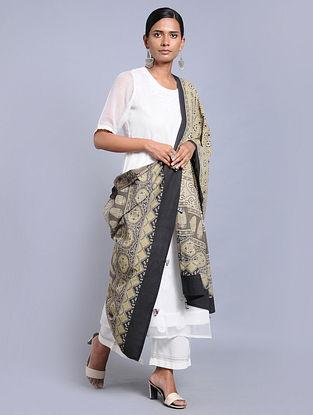 Beige-Black Ajrakh-printed Cotton Dupatta with Tassels