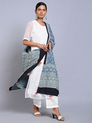 Blue-Black Ajrakh-printed Cotton Dupatta with Tassels