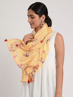 Orange Printed Chinon Chiffon Silk Stole with Tassels