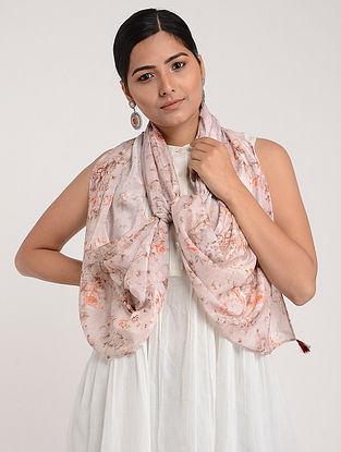 Mauve Printed Chinon Chiffon Silk Stole with Tassels