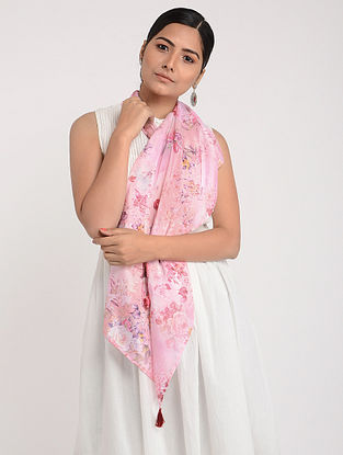 Pink Printed Chinon Chiffon Silk Stole with Tassels