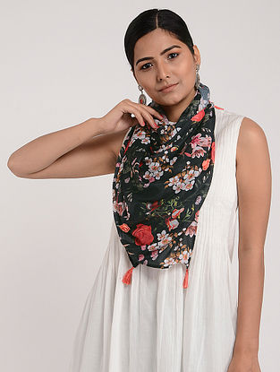 Black-Red Printed Chinon Chiffon Silk Stole with Tassels