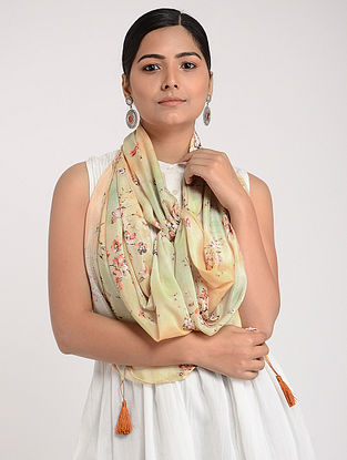 Multicolored Printed Chinon Chiffon Silk Stole with Tassels