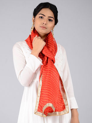 Red-Yellow Leheriya Kota Silk Stole with Gota Patti Border