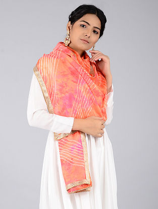 Peach-Pink Leheriya Kota Silk Stole with Gota Patti Border